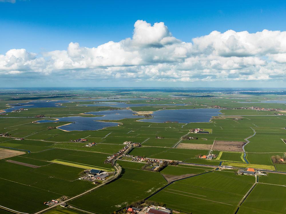 Nederland, Friesland, Gemeente Sudwest-Fryslan (Zuidwest-Friesland), 16-04-2012. 'It Lege Midden' (het lage midden). Dorp It Heidenskip.in de polder en streek Het Heidenschap. Zandmeer en Groote Gaastmeer..Typical Frisian countryside: lakes, sparse farms in the polders, meadows..luchtfoto (toeslag), aerial photo (additional fee required);.copyright foto/photo Siebe Swart
