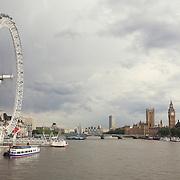 London Eye - Thames River View Of Parliment - London, UK