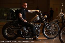 Cry Baby Cycles' Josh Allison with his hot rod inspired custom 1975 Harley-Davidson Shovelhead at the Handbuilt Show. Austin, TX. USA. Sunday April 22, 2018. Photography ©2018 Michael Lichter.