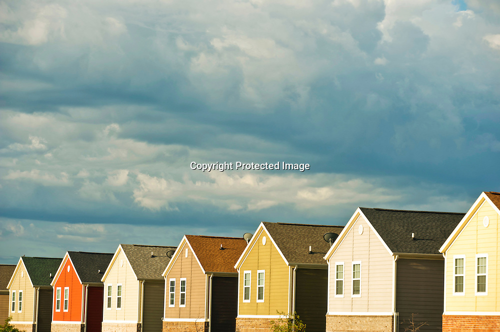 A row of colorful suburban homes in Fayetteville, Arkansas.