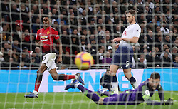 Manchester United's Marcus Rashford scores his side's first goal of the game