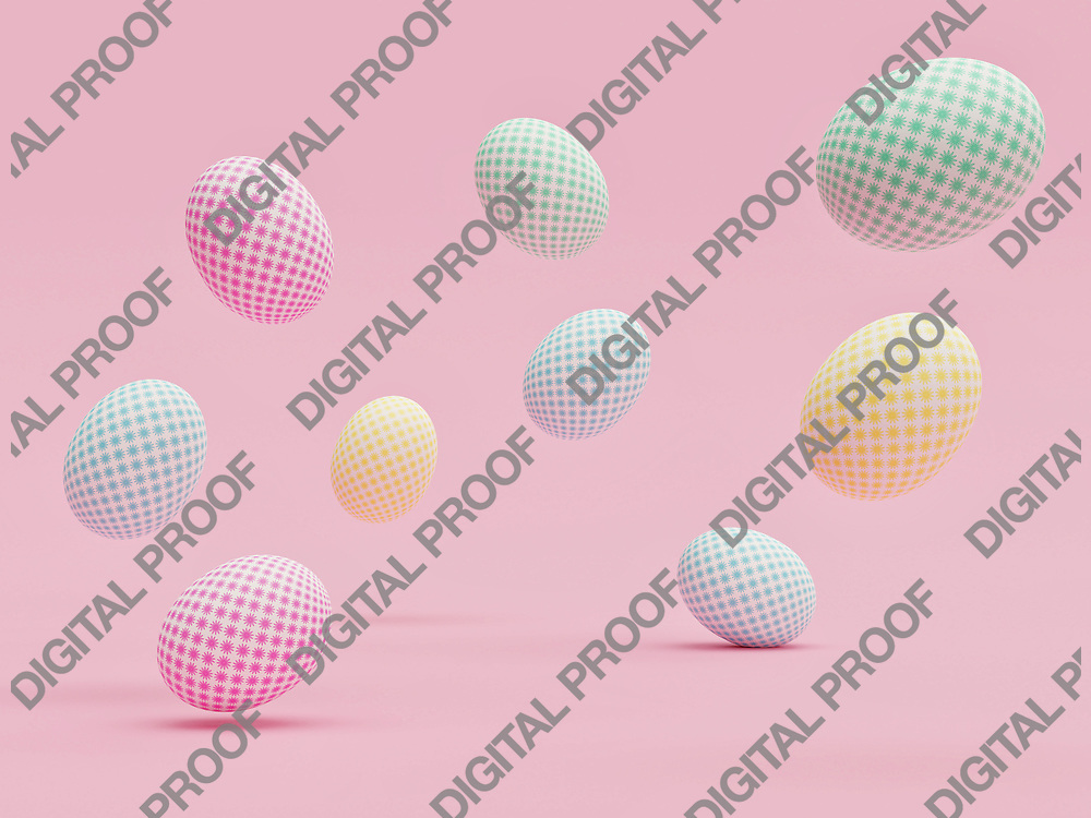 Easter eggs with beautiful patterns randomly floating in the air with a pink background - 3D Rendering Concept