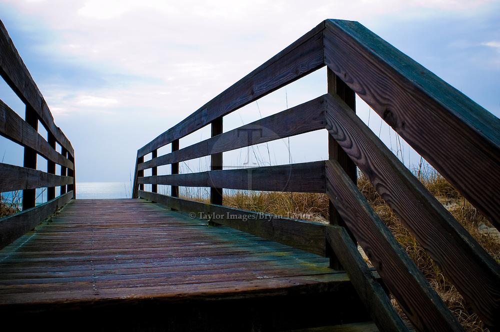 Boardwalk over dunes to beach in Pawleys Island, South Carolina