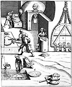 Refining copper by Hungarian process. Cupellation cakes roasted, releasing heat. At 5: lead obtained being smelted. From 1683 English edition of Lazarus Ercker 'Beschreibung allerfurnemisten mineralischen Ertszt' of 1580. Copperplate engraving.