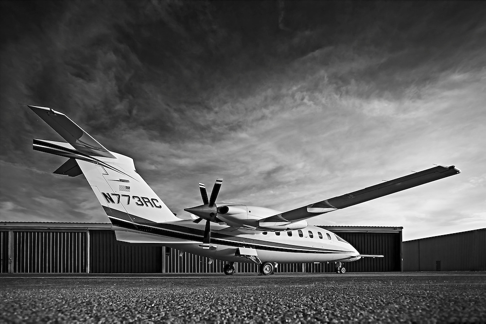 Piaggio P180 Avanti II, photographed on the ramp at Atlanta's Dekalb Peachtree Airport (PDK).  <br />