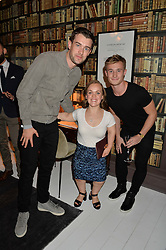 Left to right, JACK WHITEHALL, swimmer ELLIE SIMMONDS and diver JACK LAUGHER at a dinner hosted by Autograph Collection Hotels held at 19 Greek Street, Soho, London on 12th October 2016.