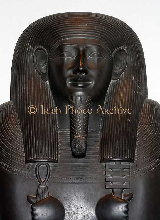 Sarcophagus-lid of the Vizier Sisebek. 26th Dynasty (approx. 600BC) Egyptian. Made of schist. A figure of the goddess Nut adorns the chest, as well as hieroglyphs stating a prayer for offerings.