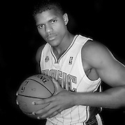 Tobias Harris poses in front of a backdrop during the Orlando Magic media day event at the Amway Arena on Monday, September 30, 2103 in Orlando, Florida. (AP Photo/Alex Menendez)