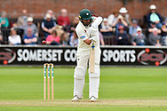 Wicket - Joe Leach of Worcestershire edges Tim Groenewald of Somerset and is caugh during the Specsavers County Champ Div 1 match between Somerset County Cricket Club and Worcestershire County Cricket Club at the Cooper Associates County Ground, Taunton, United Kingdom on 22 April 2018. Picture by Graham Hunt.
