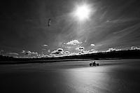 Kite carts racing on Gwithian sands, Cornwall