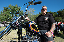 Invited builder Duane Ballard on his custom 1975 Honda CB750 that he got the Best Japanese award for at the Born Free chopper show. Silverado, CA. USA. Sunday June 24, 2018. Photography ©2018 Michael Lichter.