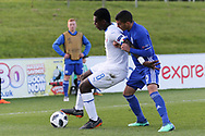 Manu Emmanuel Gyabuaa of Italy (8) holds off Liel Abada of Israel (9) during the UEFA European Under 17 Championship 2018 match between Israel and Italy at St George's Park National Football Centre, Burton-Upon-Trent, United Kingdom on 10 May 2018. Picture by Mick Haynes.