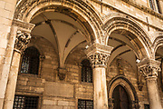Arch and column detail at the Rectors Palace and Cultural History Museum, old town Dubrovnik, Dalmatian Coast, Croatia