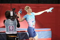 February 7, 2018 - Paris, Ile-de-France, France - Kevin Mayer of France threws his shoes for the spectators after winning the 60m Triathlon during the Athletics Indoor Meeting of Paris 2018, at AccorHotels Arena (Bercy) in Paris, France on February 7, 2018. (Credit Image: © Michel Stoupak/NurPhoto via ZUMA Press)