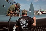 Prepping Douglas SBD Dauntless for flight.
