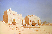 The Eighth Pylon, Karnak, Thebes', c1911.  Watercolour over pencil.  Augustus Osborne Lamplough (1877-1930), British artist. Egypt Ancient Egyptian Archaeology Ruins