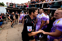 Greg Holmes as Exeter Chiefs players dismount the Dragon boats after rowing down the Quay and walk through fans to launch the new Home and European kits for the upcoming 2019/20 season - Ryan Hiscott/JMP - 19/07/2019 - SPORT - Exeter Quay - Exeter, England - Exeter Chiefs Kit Launch