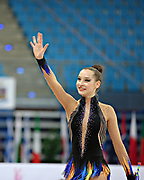 Halkina Katsiaryna during qualifying at clubs in Pesaro World Cup 27 April 2013. Katsiaryna is a Belarusian rhythmic gymnastics athlete born February 25, 1997 in Minks, Belarus.