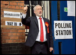 June 8, 2017 - London, London, United Kingdom - Image ©Licensed to i-Images Picture Agency. 08/06/2017. London, United Kingdom. Jeremy Corbyn voting. The Leader of the Labour Party Jeremy Corbyn arrives at the polling station in North London,  to cast his vote in the 2017 General Election. Picture by Andrew Parsons / i-Images (Credit Image: © Andrew Parsons/i-Images via ZUMA Press)