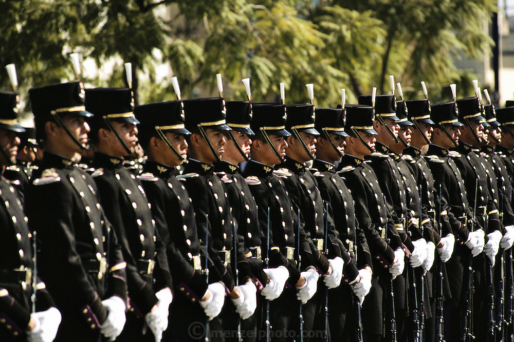Soldiers lined up in formal uniforms in Guadalajara, Mexico.