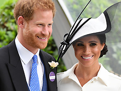 Members of The Royal Family attend the first day of Royal Ascot 2018 at Ascot Racecourse, Ascot, Berkshire, UK, on the 19th June 2018. 19 Jun 2018 Pictured: Prince Harry, Duke of Sussex, Meghan Markle, Duchess of Sussex. Photo credit: James Whatling / MEGA TheMegaAgency.com +1 888 505 6342