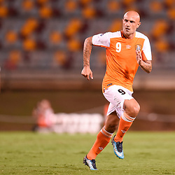 BRISBANE, AUSTRALIA - JANUARY 23: Massimo Maccarone of the Roar in action during the AFC Champions League Second Preliminary Round match between Brisbane Roar and Ceres Negros FC on January 23, 2017 in Brisbane, Australia. (Photo by Patrick Kearney)