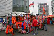 Football scarves, shirts, kit being sold before the Friendly match between Netherlands and England at the Amsterdam Arena, Amsterdam, Netherlands on 23 March 2018. Picture by Phil Duncan.