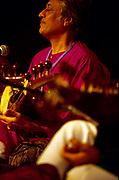 Amjad Ali Khan, the renown Indian sarod player and composer playing onstage at the WOMAD festival of World Music on the Canary Islands.
