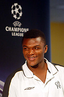Photograph: Scott Heavey.<br />Chelsea Press conference in Prague, before the Champions League match against AC Sparta Prague.<br />Marcel Desailly looks in a comfortable mood.