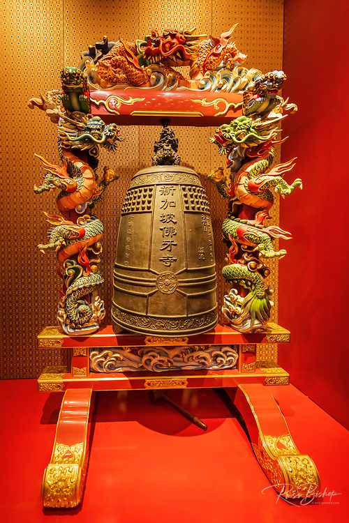 Bronze ritual bell in the Buddha Tooth Relic Temple and Museum, Singapore, Republic of Singapore