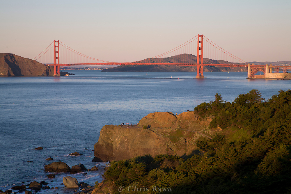 Golde Gate Bridge at sunset from Eagles Point, San Francisco, California