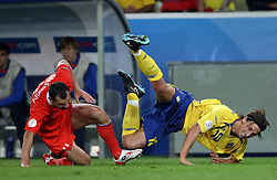 Sergei Ignashevich of Russia (4) and Zlatan Ibrahimovic of Sweden (10) during the UEFA EURO 2008 Group D soccer match between Sweden and Russia at Stadion Tivoli NEU, on June 18,2008, in Innsbruck, Austria. Russia won 2:0. (Photo by Vid Ponikvar / Sportal Images)