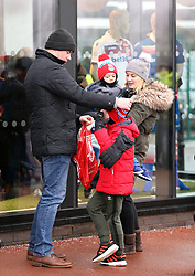 """Fans before the Premier League match at the bet365 Stadium, Stoke. PRESS ASSOCIATION Photo. Picture date: Saturday January 20, 2018. See PA story SOCCER Stoke. Photo credit should read: Nigel French/PA Wire. RESTRICTIONS: EDITORIAL USE ONLY No use with unauthorised audio, video, data, fixture lists, club/league logos or """"live"""" services. Online in-match use limited to 75 images, no video emulation. No use in betting, games or single club/league/player publications."""