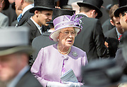 © Licensed to London News Pictures. 07/06/2014. Epsom, UK. HRH Queen Elizabeth II in the parade ring before the Derby. Derby Day today 7th June 2014 at Epsom 2014 Investic Derby Festival in Surrey. Traditionally, elegant, fashionable racegoers gather for a classic day's racing at Epsom Racecourse, Surrey. Photo credit : Stephen Simpson/LNP