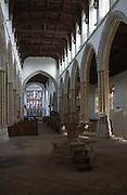 Nave inside Saint Mary parish church, Stoke by Nayland, Suffolk, England, UK
