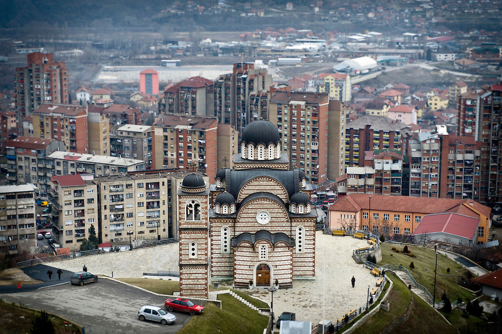 North Mitrovica, Kosovo 18 February 2011<br /> St. Demetrios the Great-martyr church in northern Kosovska Mitrovica. <br /> Since the end of the Kosovo War of 1999 Mitrovica has been divided between an ethnic-Albanian-majority south and an ethnic-Serb-majority north. Its northern part is the de facto capital of the Serb enclave of North Kosovo.<br /> Photo: Ezequiel Scagnetti