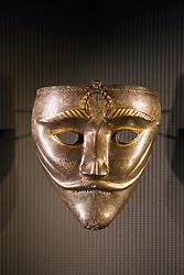 War Mask from Eastern Turkey or Western Iran on display at Museum of Islamic Art in Doha Qatar