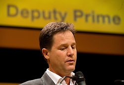 © London News Pictures. 23/09/2012. Brighton, UK.  Deputy Prime Minister Nick Clegg speaking at a questions and answers session on day 2 of the Libearl Democrat Autumn conference in Brighton on September 23, 2012.  Photo credit : Ben Cawthra/LNP.