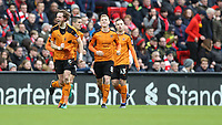 Football - 2016 / 2017 FA Cup - Fourth Round: Liverpool vs. Wolverhampton Wanderers<br /> <br /> Richard Stearman of Wolverhampton Wanderers celebrates scoring during the match at Anfield.<br /> <br /> COLORSPORT/LYNNE CAMERON
