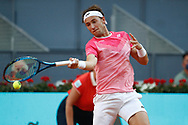 Casper Ruud of Norway in action during his Men's Singles match, Quarter of Finals, against Alexander Bublik of Kazakhstan on the Mutua Madrid Open 2021, Masters 1000 tennis tournament on May 7, 2021 at La Caja Magica in Madrid, Spain - Photo Oscar J Barroso / Spain ProSportsImages / DPPI / ProSportsImages / DPPI