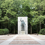 The main statue facing the plaza of the Theodore Roosevelt Memorial on Roosevelt Island on the Potomac River in Washington DC.