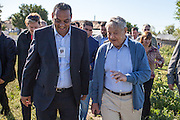 """George Soros, chairman and founder of the Open Society Foundations, with Cristian Buceanu, a Roma council member, elected with the support of residents from Frumuşani in 2012. """"For twenty years, no one asked about Roma. If Roma start to have their own representatives, this can change"""" comments Buceanu."""