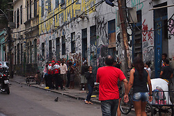 November 18, 2016 - Rio De Janeiro, Brazil - Police officers carry out an operation to combat drug trafficking in Lapa, one of the main tourist attractions in Rio de Janeiro Downtown, on November 18, 2016. The police carried out searches on real estate in the vicinity of Arcos da Lapa. During the operation, suspects were arrested and taken to the police station for clarification. Police did not disclose if weapons and drugs were seized. (Credit Image: © Luiz Souza/NurPhoto via ZUMA Press)