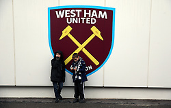 Young West Ham fan's ahead of the Premier League match at London Stadium.