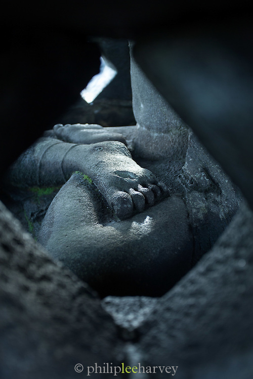 Detail of foot, statue of Buddha, Borobudur, Kedu Valley, South Central Java, Java, Indonesia, Southeast Asia