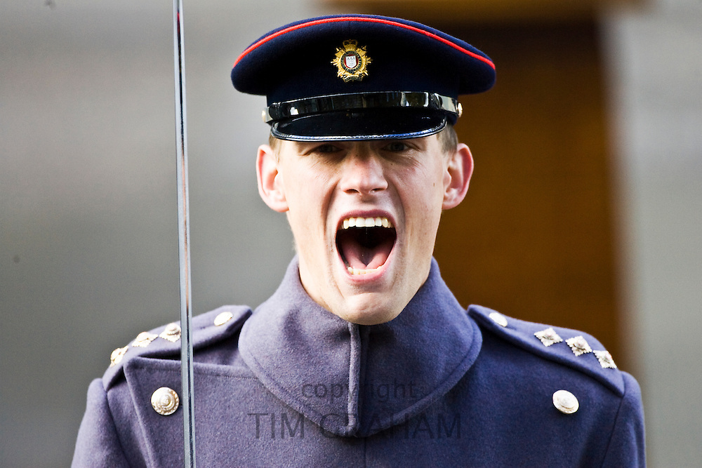 Army officer shouting orders at the Cenotaph, London, England, United Kingdom