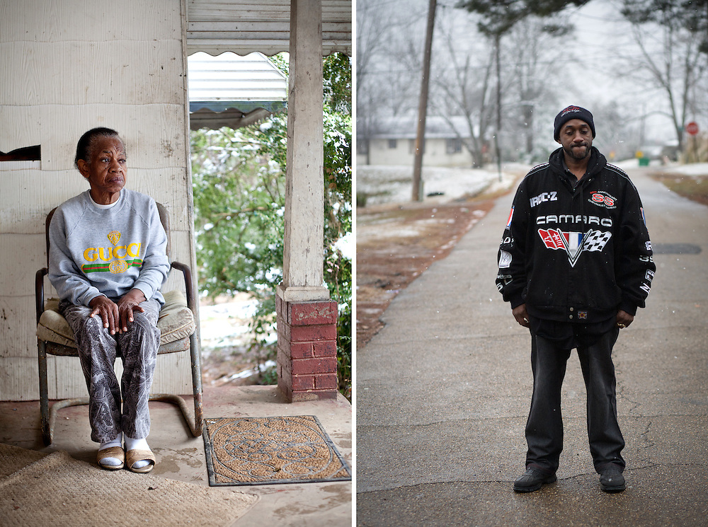"""(Left) Louise Marie Monroe, 72, the widow of Bernard Monroe, sits on the porch where she watched her husband of 49 years lie dying in the yard below.  Witnesses and family members believe Bernard Monroe was on his way into the house to check on his wife when he was shot seven times through the screen door by police as he walked up the steps. (Right) Shuan Monroe stands in the road in front of the house where his father was shot. Shaun, the son of Bernard Monroe, Sr., was being pursued by police when the shooting occurred. """"If you ask me if I feel responsible for my father's death, I think about that everyday.  Everyday."""""""