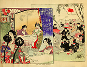 The Red Cross Society of Japan From the book 'Scenes from the Japan-China War' by Inouye, Jukichi, 1862-1929; Yamamoto, Eiki, illustrator. Published in Tokyo in 1895 with English Text. The First Sino-Japanese War (25 July 1894 – 17 April 1895) was a conflict between the Qing dynasty of China and the Empire of Japan primarily over influence in Joseon Korea. After more than six months of unbroken successes by Japanese land and naval forces and the loss of the port of Weihaiwei, the Qing government sued for peace in February 1895.