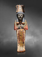 Ancient Egyptian shabtis doll, lwood, New Kingdom, 18th Dynasty, (1538-1040 BC), Deir el Medina. Egyptian Museum, Turin. Grey background. .<br /> <br /> If you prefer to buy from our ALAMY PHOTO LIBRARY  Collection visit : https://www.alamy.com/portfolio/paul-williams-funkystock/ancient-egyptian-art-artefacts.html  . Type -   Turin   - into the LOWER SEARCH WITHIN GALLERY box. Refine search by adding background colour, subject etc<br /> <br /> Visit our ANCIENT WORLD PHOTO COLLECTIONS for more photos to download or buy as wall art prints https://funkystock.photoshelter.com/gallery-collection/Ancient-World-Art-Antiquities-Historic-Sites-Pictures-Images-of/C00006u26yqSkDOM