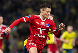 Pascal Gregor (Lyngby BK) under kampen i 3F Superligaen mellem Brøndby IF og Lyngby Boldklub den 1. marts 2020 på Brøndby Stadion (Foto: Claus Birch).